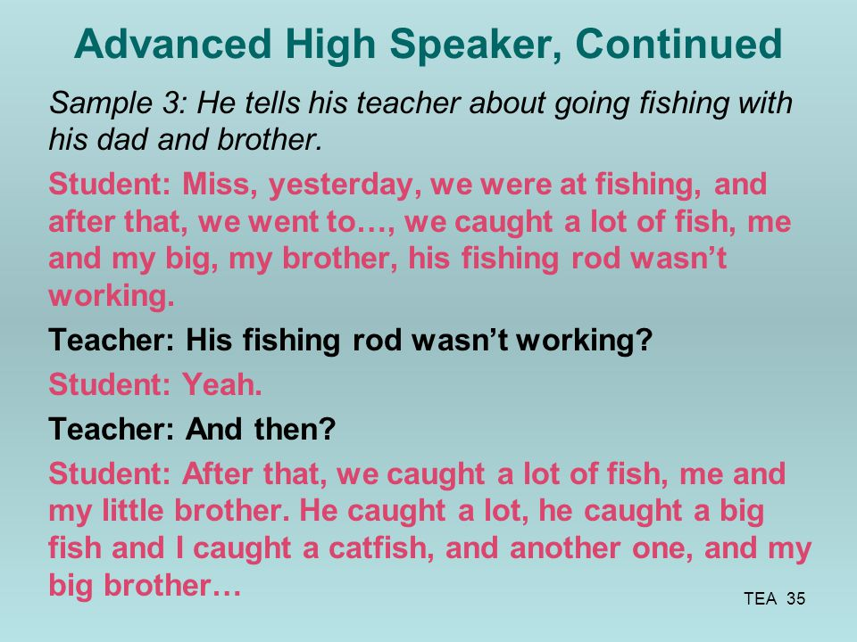Advanced High Speaker, Continued