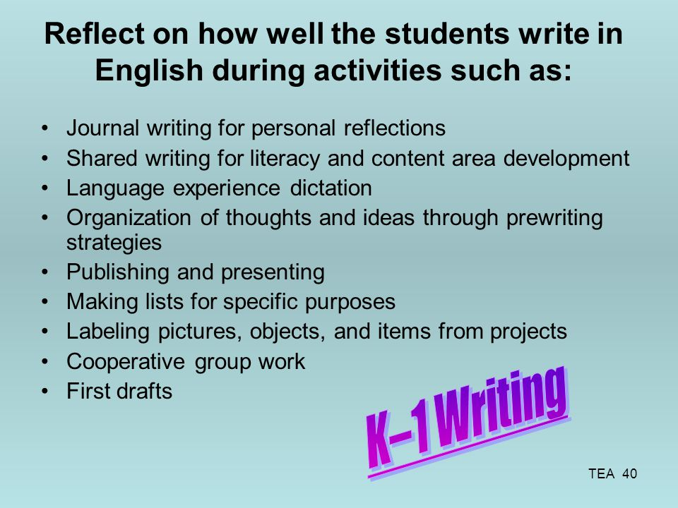 Reflect on how well the students write in English during activities such as: