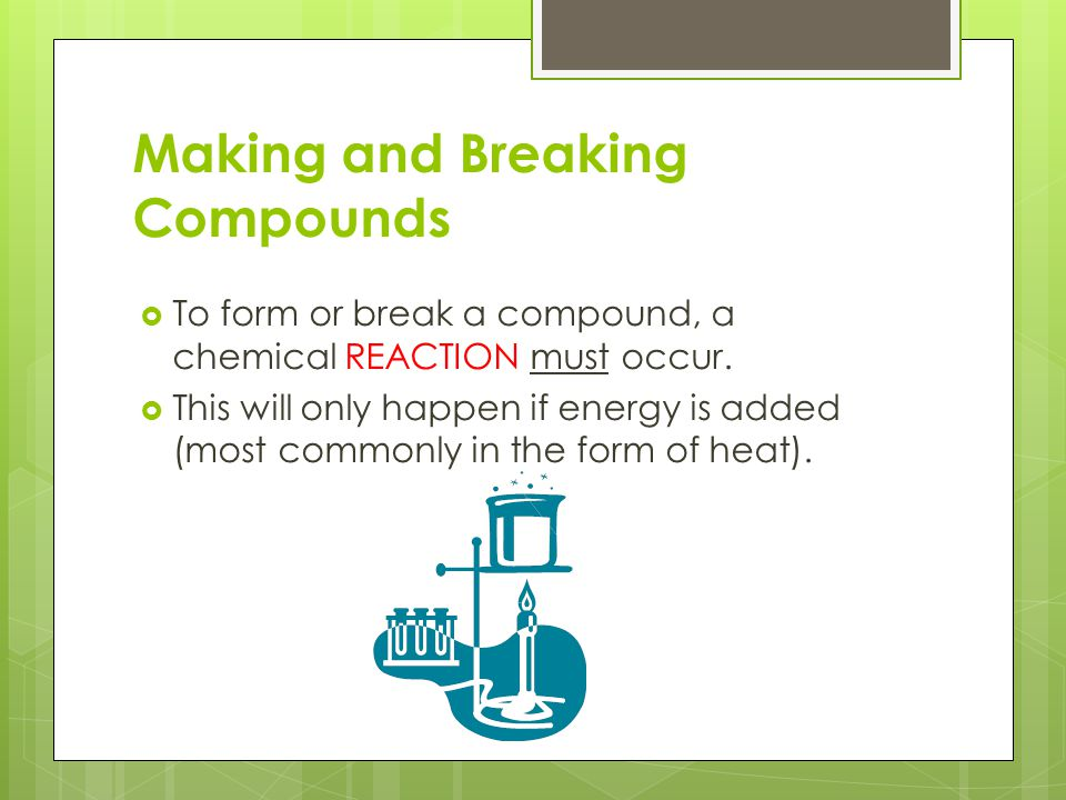 Making and Breaking Compounds