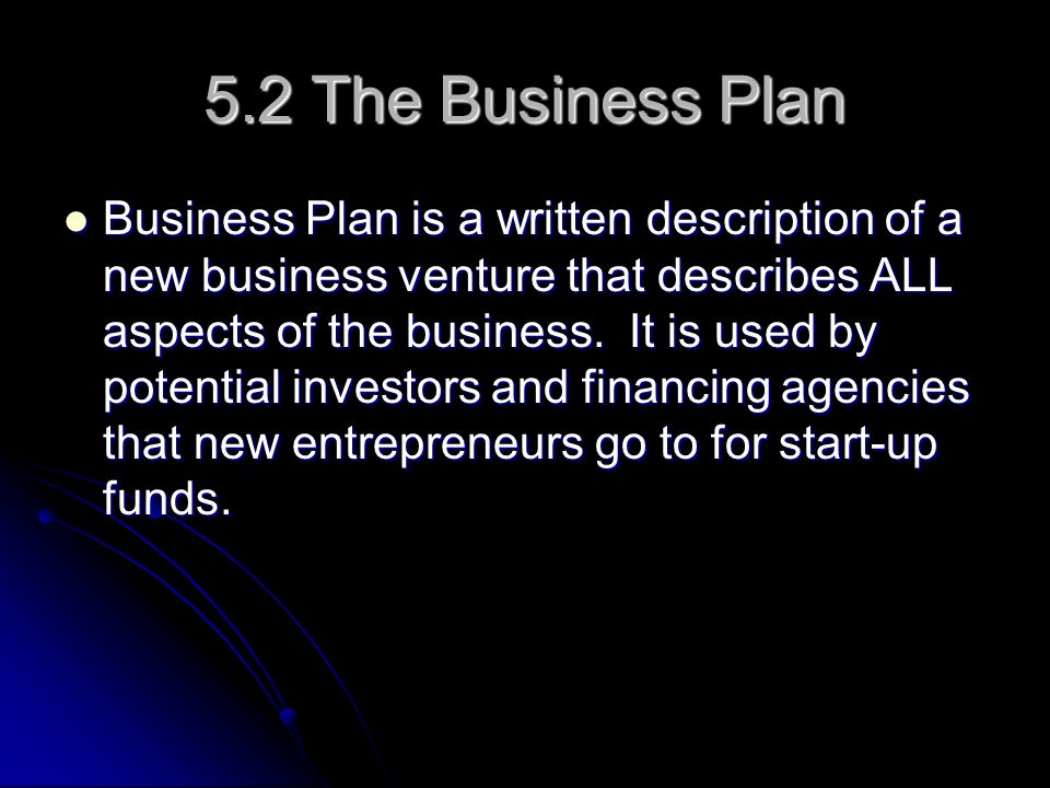 5.2 The Business Plan