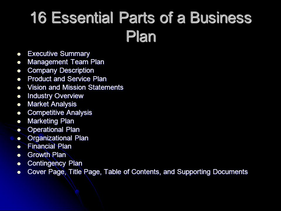5 parts of a business plan