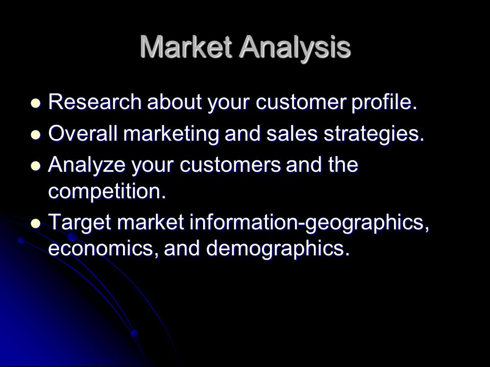 Market Analysis Research about your customer profile.
