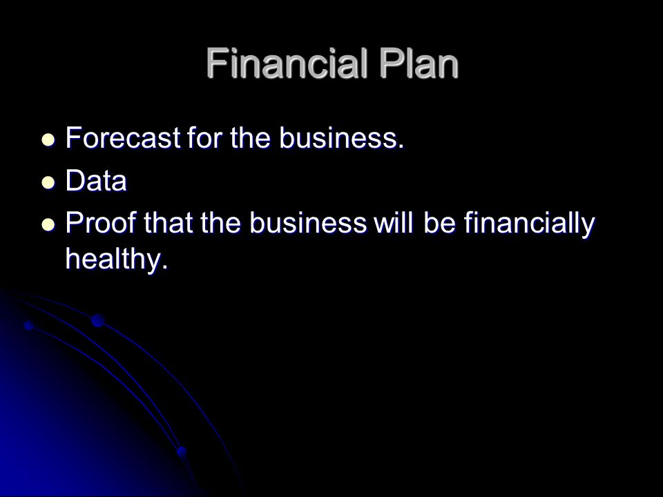 Financial Plan Forecast for the business. Data