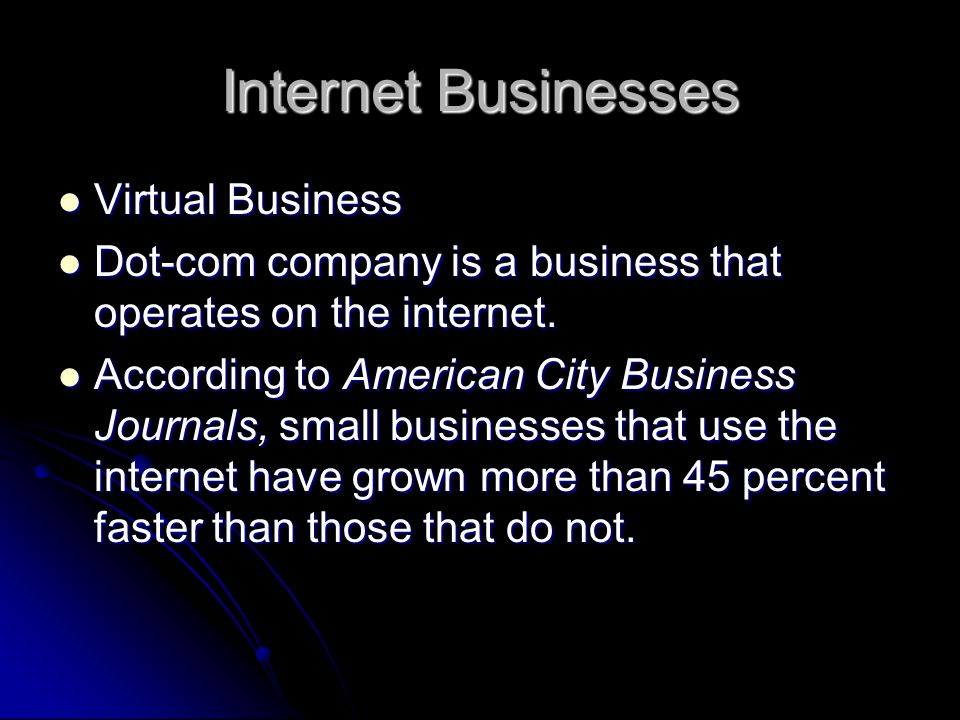 Internet Businesses Virtual Business