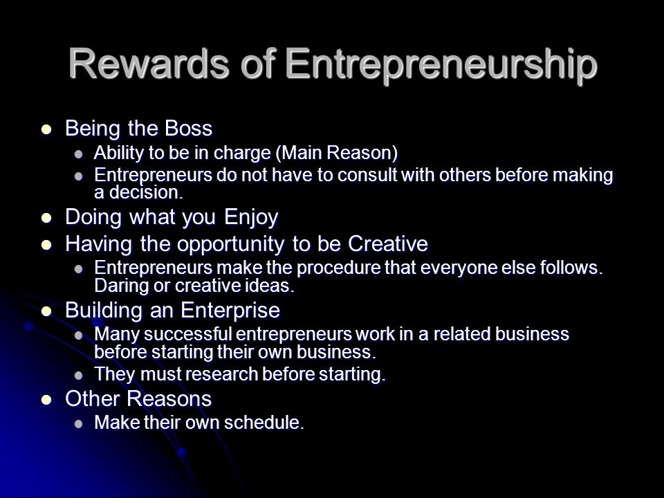 Rewards of Entrepreneurship