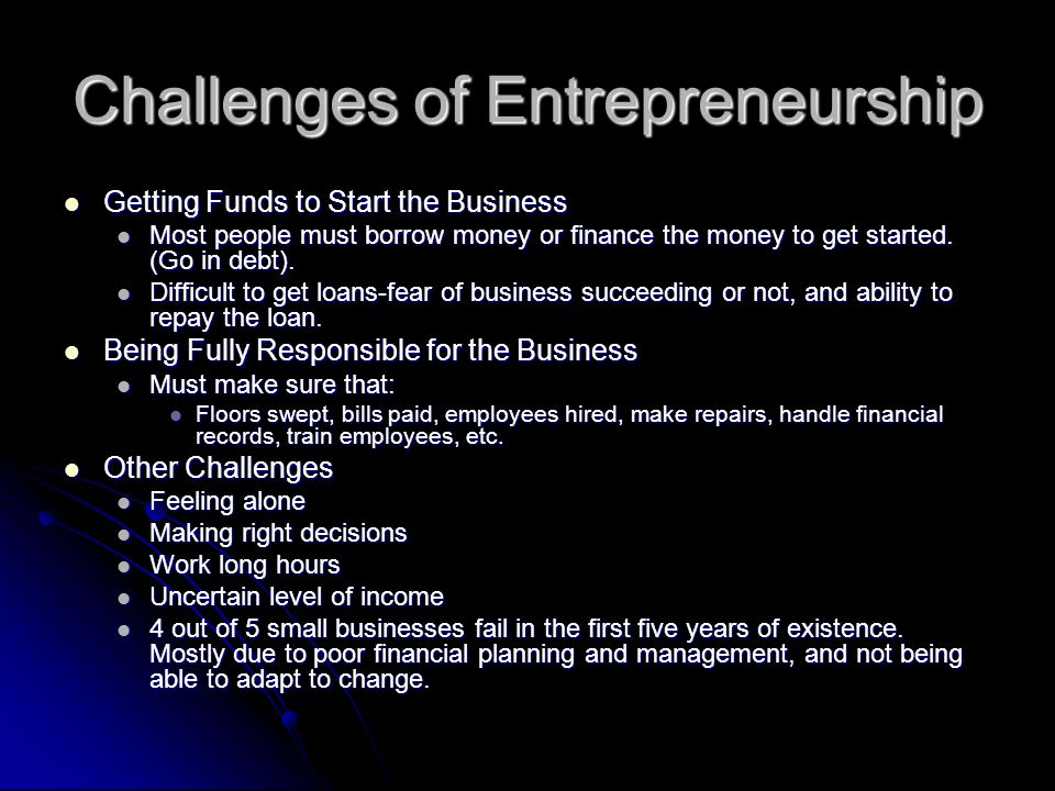 Challenges of Entrepreneurship