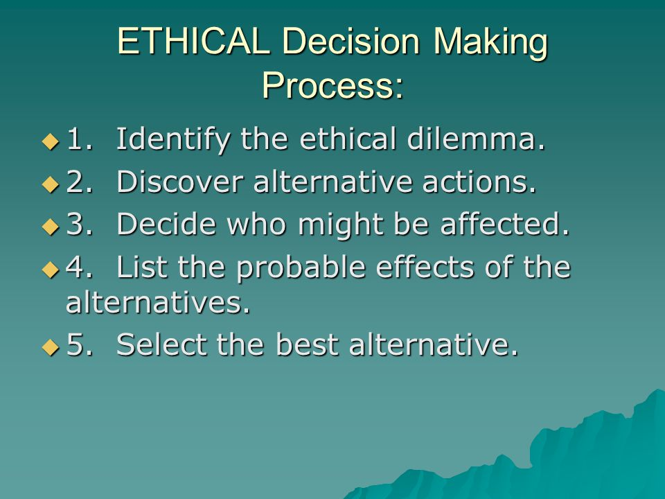 ETHICAL Decision Making Process: