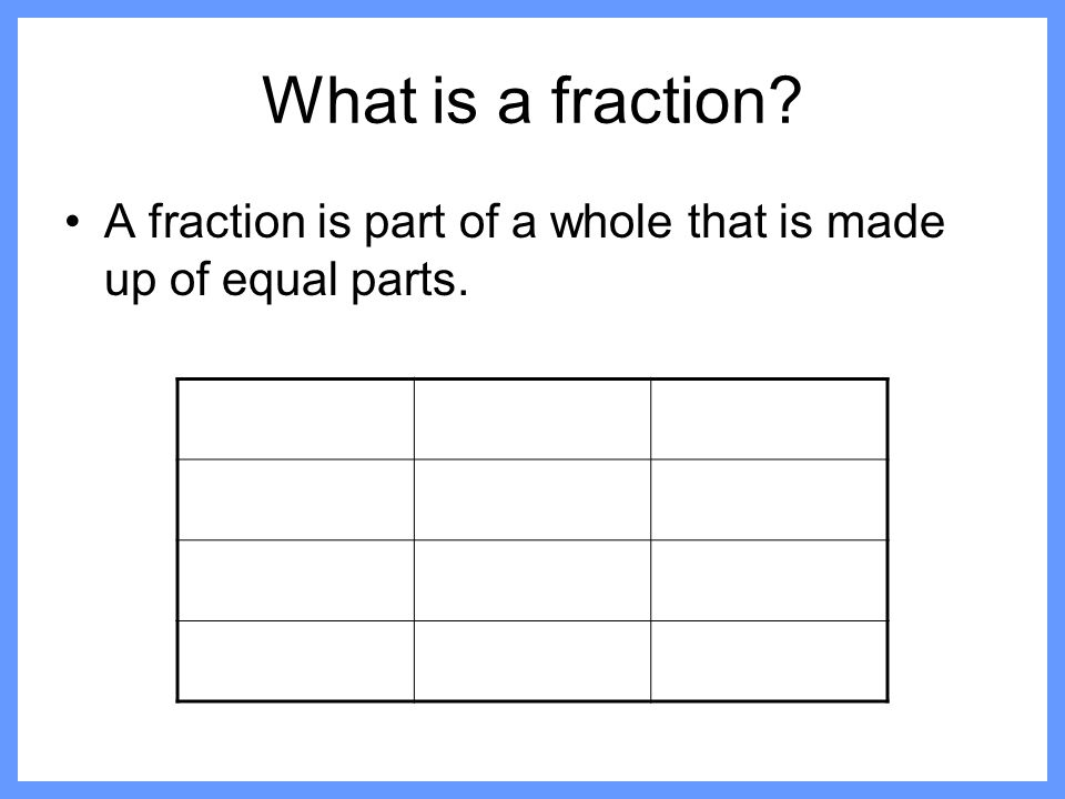 What is a fraction A fraction is part of a whole that is made up of equal parts.