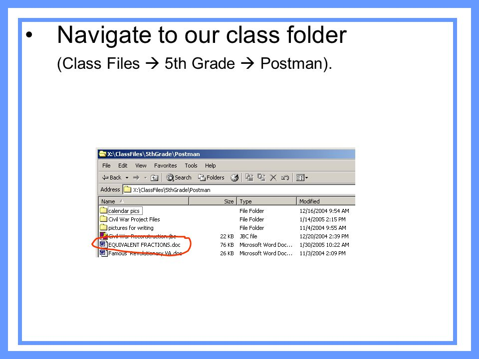Navigate to our class folder