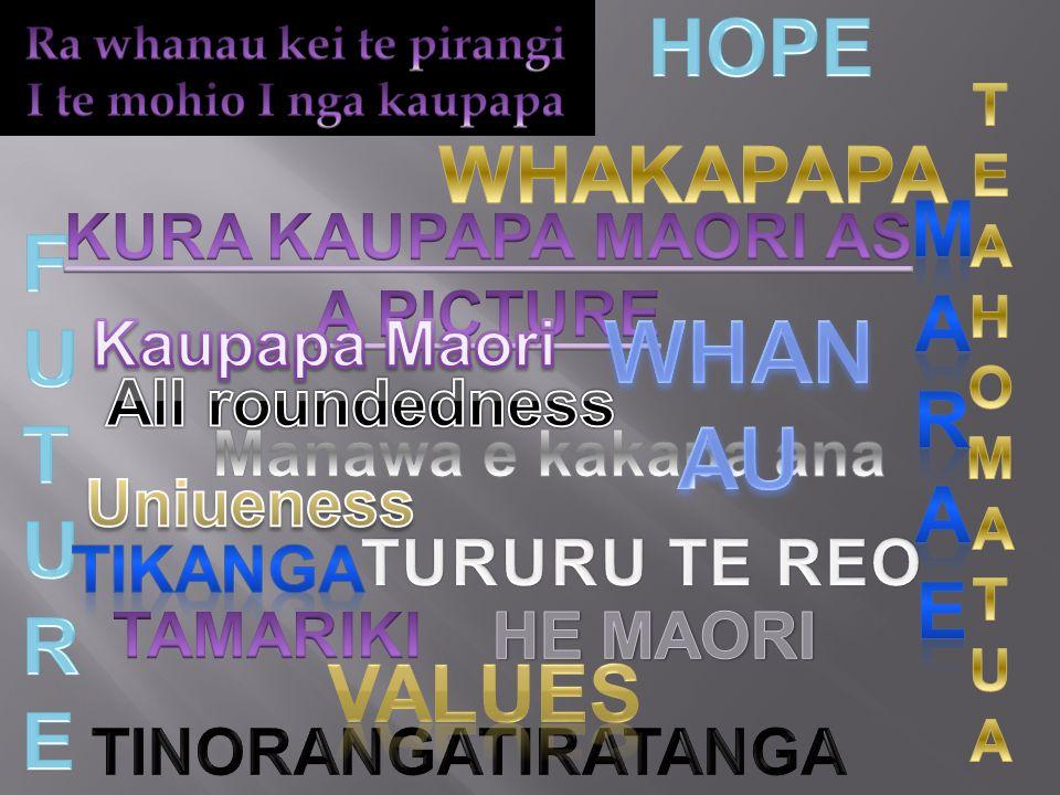 WHANAU HOPE WHAKAPAPA MARAE FUTURE Values KURA KAUPAPA MAORI AS