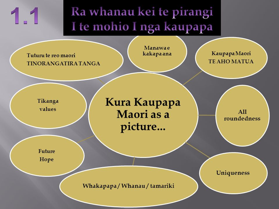 Kura Kaupapa Maori as a picture... Whakapapa / Whanau / tamariki