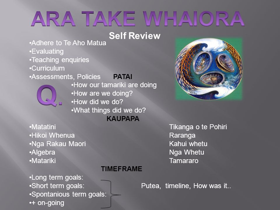 Q. ARA TAKE WHAIORA Self Review Adhere to Te Aho Matua Evaluating