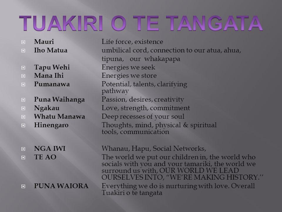 TUAKIRI O TE TANGATA Mauri Life force, existence