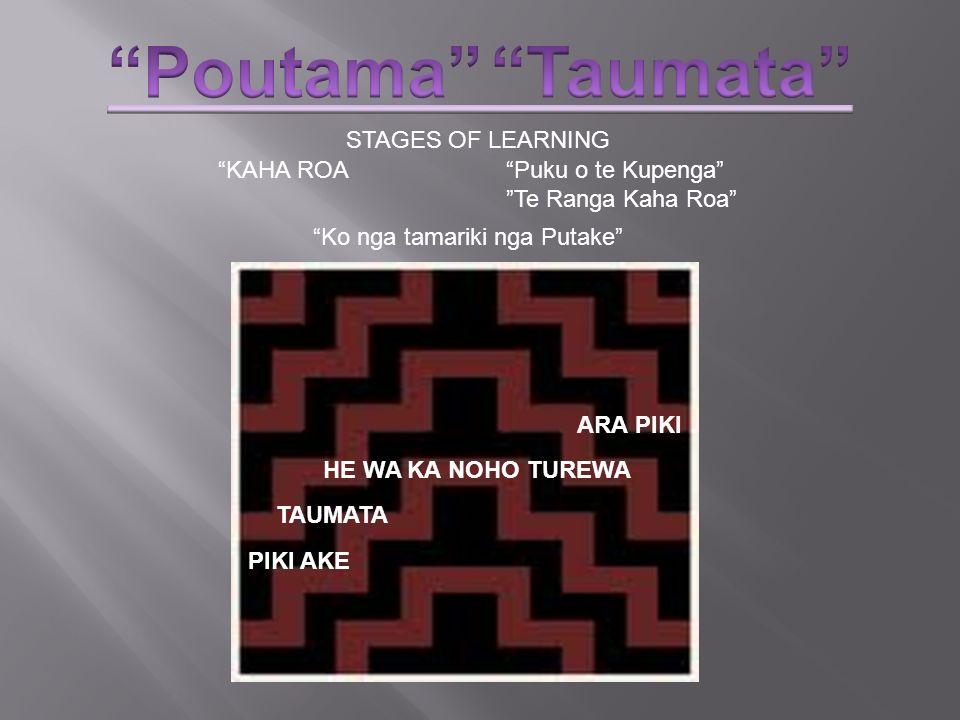 Poutama Taumata STAGES OF LEARNING KAHA ROA Puku o te Kupenga