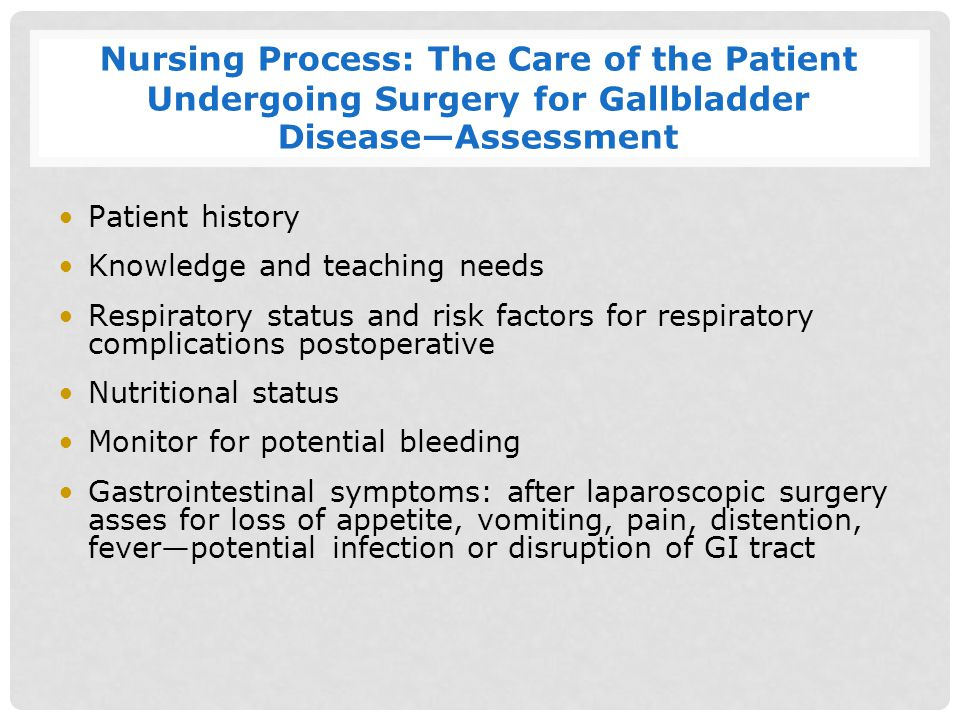 Nursing Process: The Care of the Patient Undergoing Surgery for Gallbladder Disease—Assessment