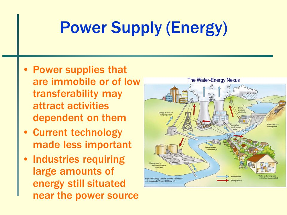 Power Supply (Energy) Power supplies that are immobile or of low transferability may attract activities dependent on them.