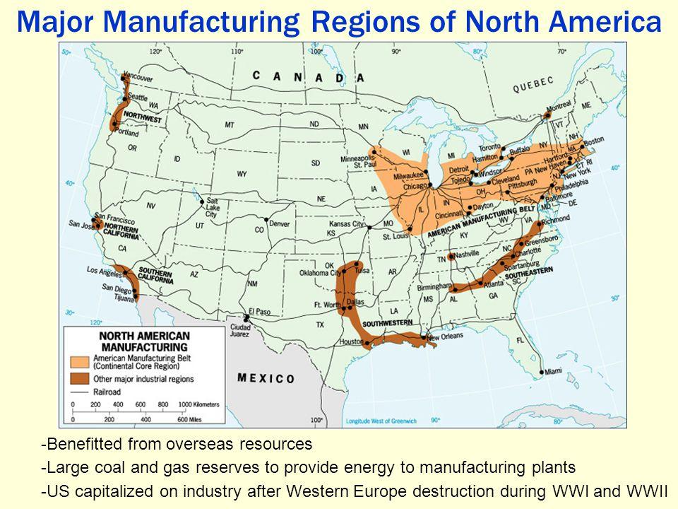 Major Manufacturing Regions of North America