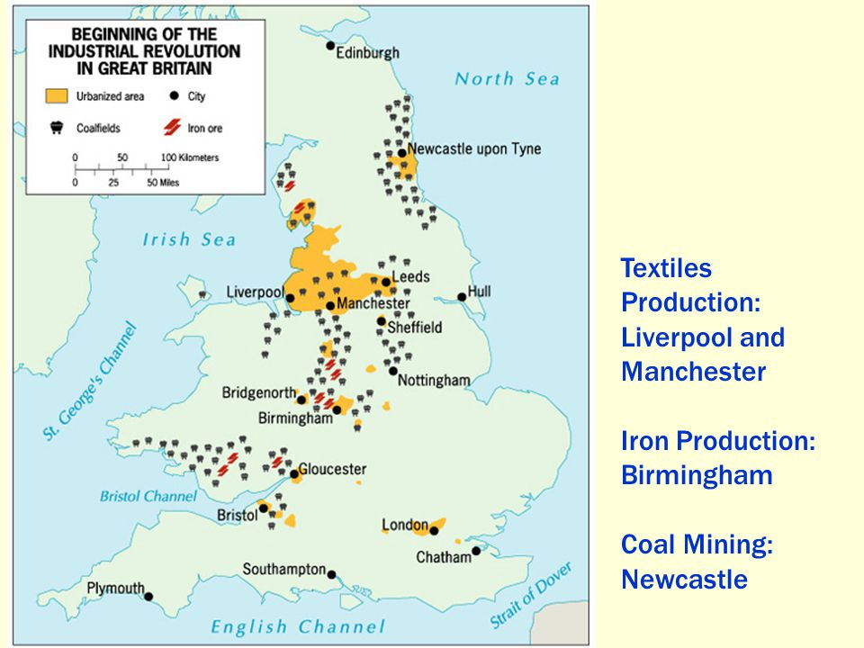 Textiles Production: Liverpool and Manchester Iron Production: Birmingham Coal Mining: Newcastle