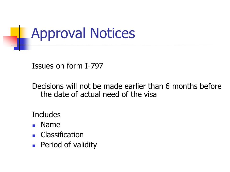Approval Notices Issues on form I-797