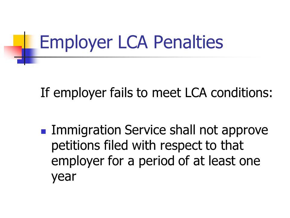 Employer LCA Penalties