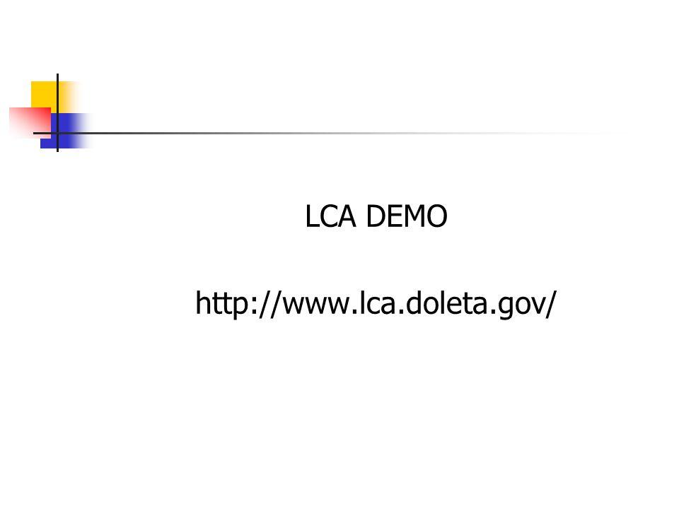 LCA DEMO http://www.lca.doleta.gov/