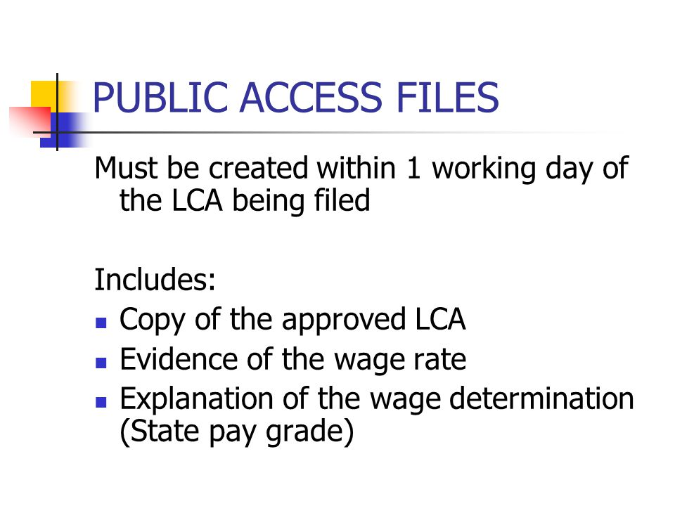 PUBLIC ACCESS FILES Must be created within 1 working day of the LCA being filed. Includes: Copy of the approved LCA.