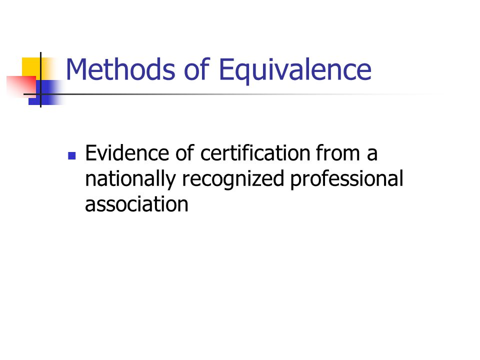 Methods of Equivalence
