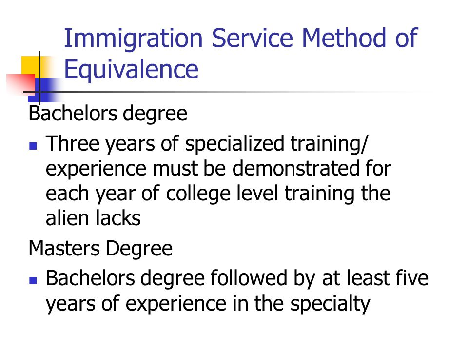 Immigration Service Method of Equivalence