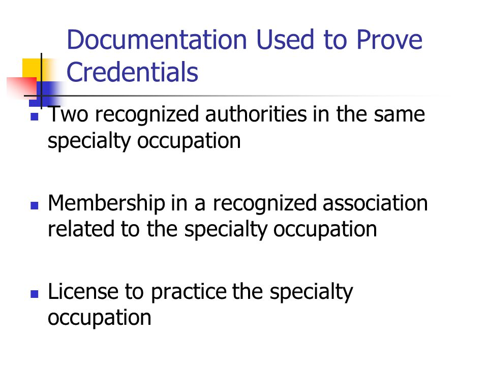 Documentation Used to Prove Credentials