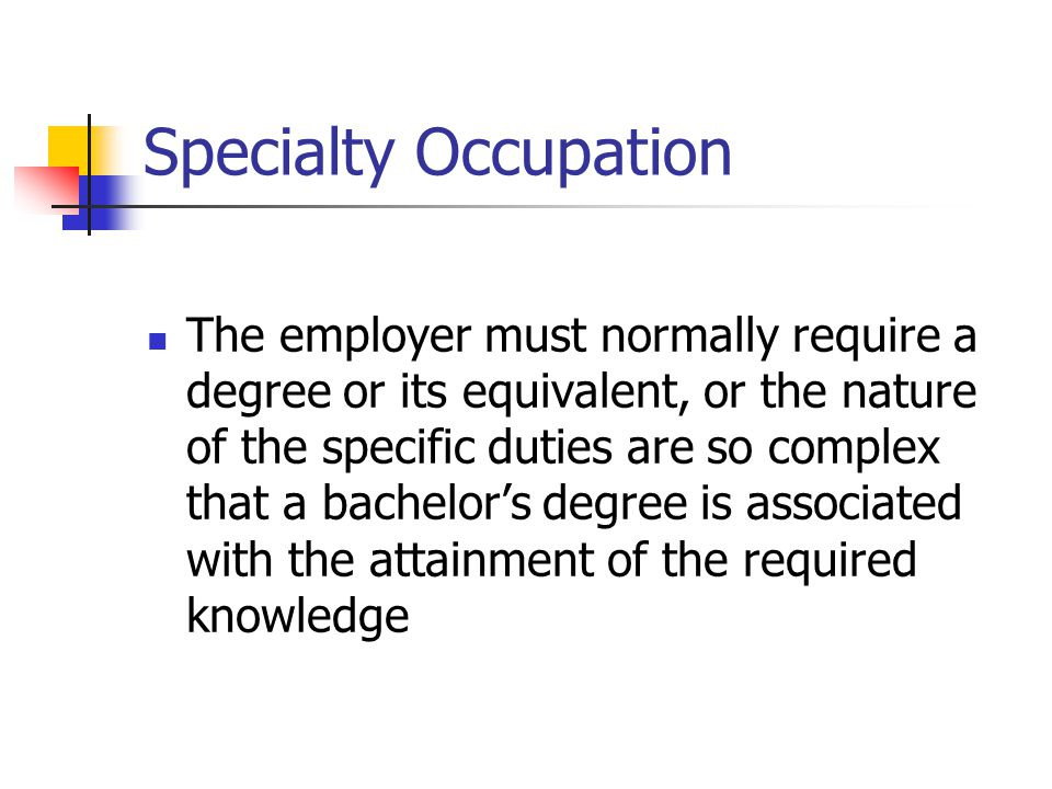 Specialty Occupation
