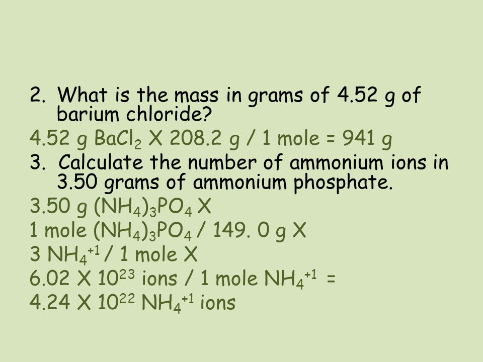 What is the mass in grams of 4.52 g of barium chloride