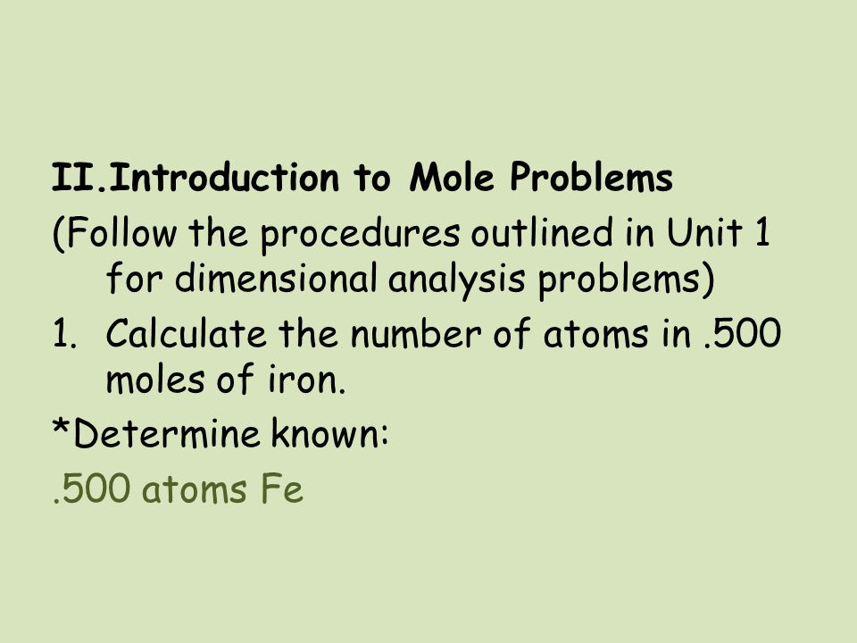 Introduction to Mole Problems