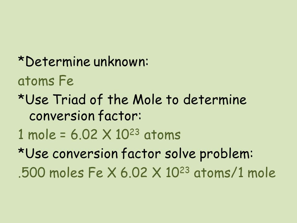 Determine unknown: atoms Fe