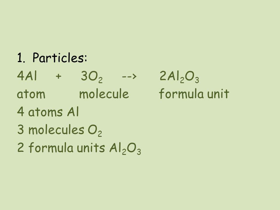 Particles: 4Al + 3O2 --› 2Al2O3. atom molecule formula unit. 4 atoms Al.