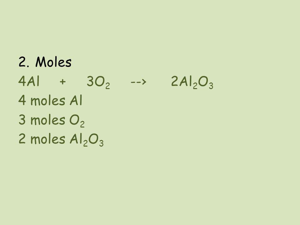 Moles 4Al + 3O2 --› 2Al2O3 4 moles Al 3 moles O2 2 moles Al2O3