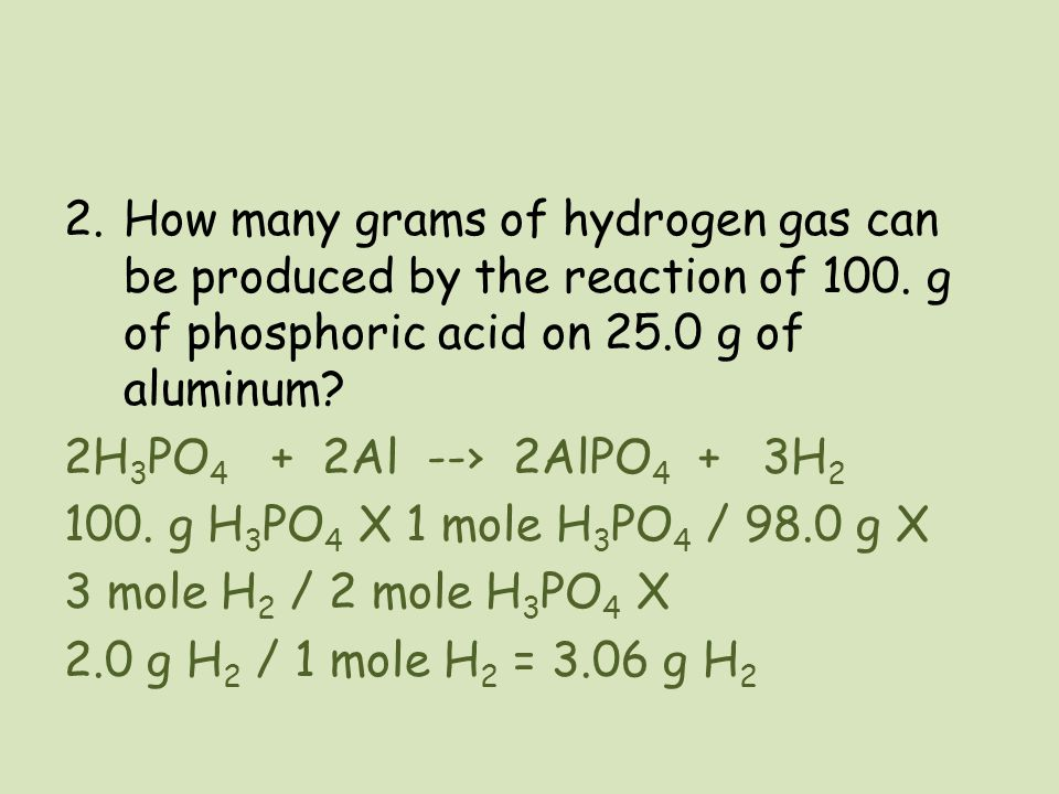 How many grams of hydrogen gas can be produced by the reaction of 100