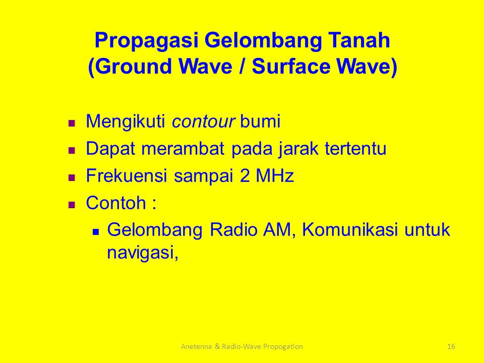 Propagasi Gelombang Tanah (Ground Wave / Surface Wave)