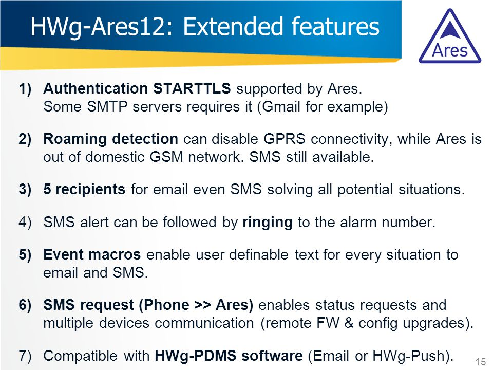 HWg-Ares12: Extended features
