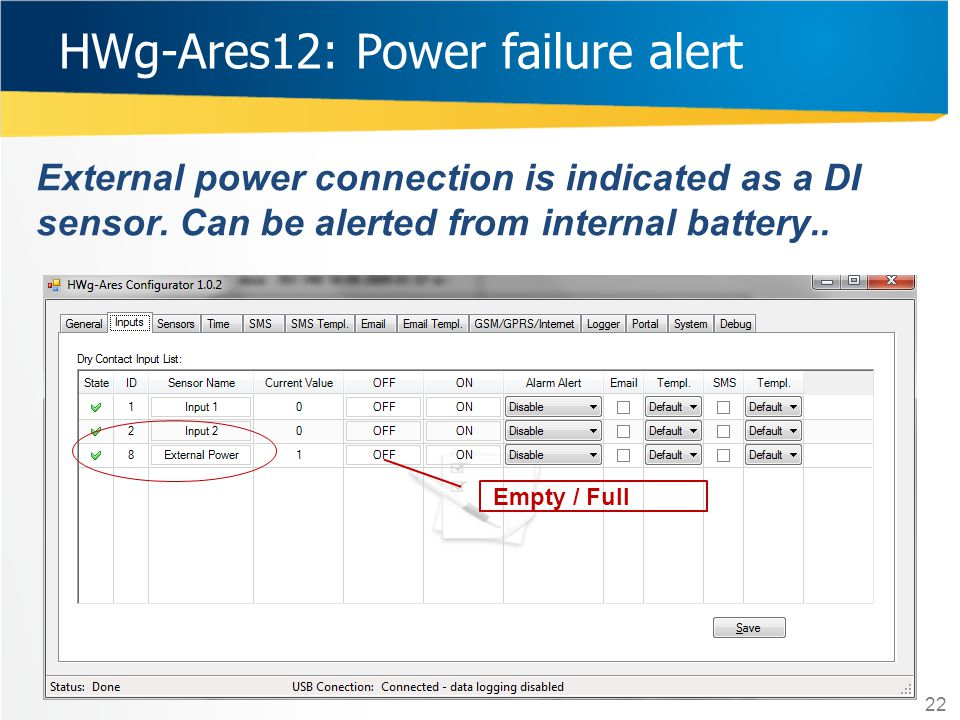 HWg-Ares12: Power failure alert