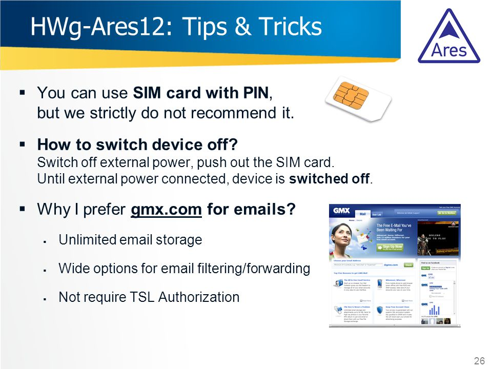 HWg-Ares12: Tips & Tricks