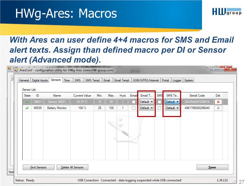 HWg-Ares: Macros