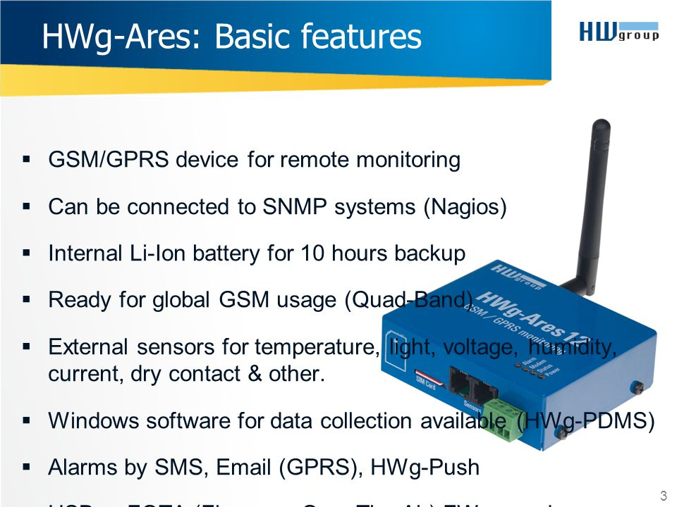 HWg-Ares: Basic features