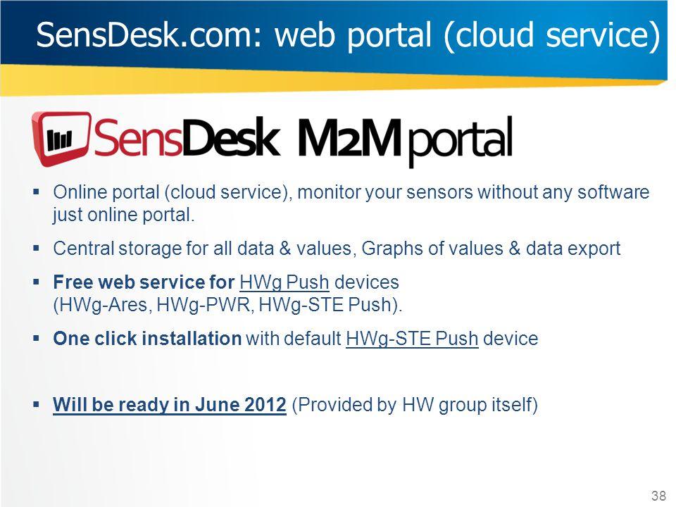 SensDesk.com: web portal (cloud service)