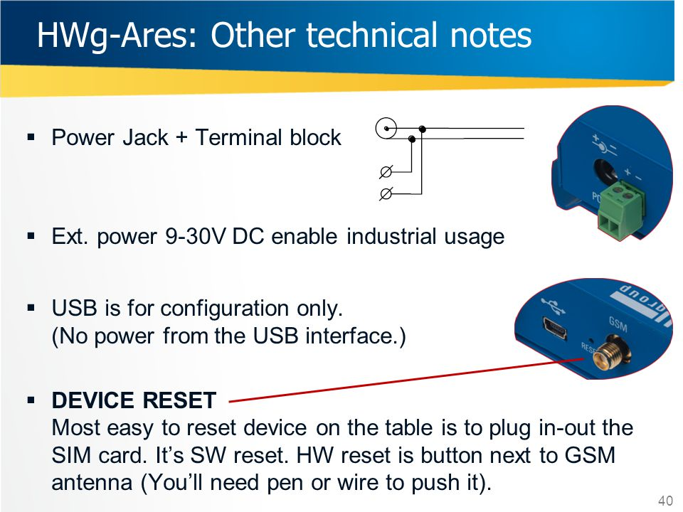 HWg-Ares: Other technical notes