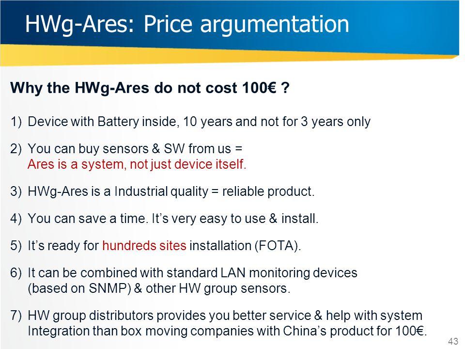 HWg-Ares: Price argumentation