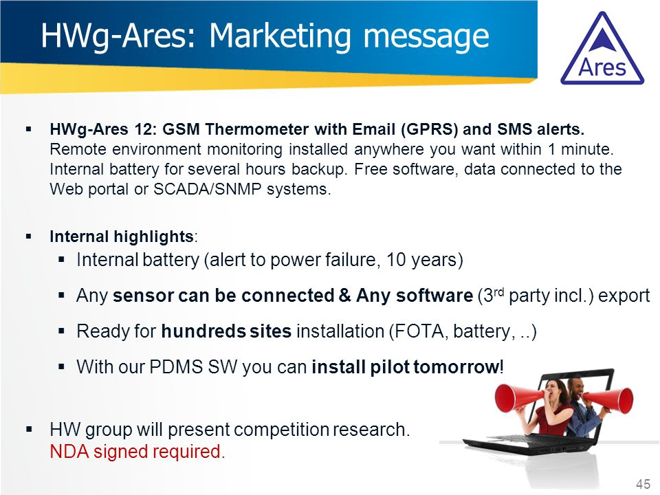 HWg-Ares: Marketing message