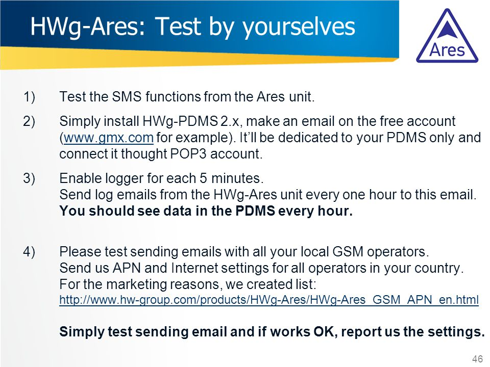 HWg-Ares: Test by yourselves