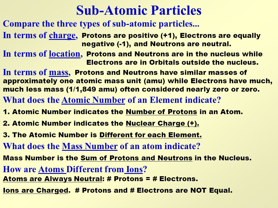 Sub-Atomic Particles Compare the three types of sub-atomic particles... In terms of charge,