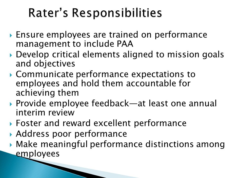 Rater's Responsibilities