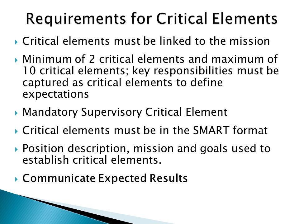 Requirements for Critical Elements